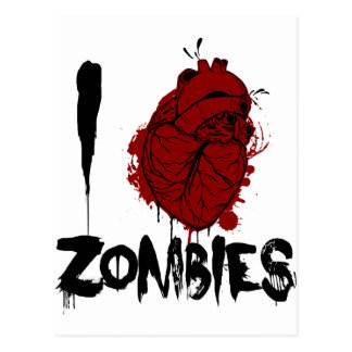 i bloody heart zombies postcard