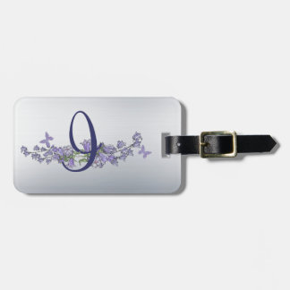 I - Blue Bells and Butterfly Monogram Luggage Tag
