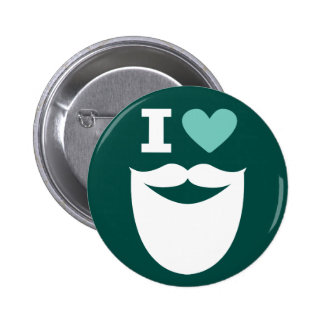 I botón de la barba del corazón - blanco verde y pin redondo de 2 pulgadas