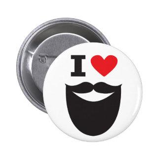 I botón de la barba del corazón - rojo y negro pin redondo de 2 pulgadas