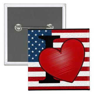 I botón de los E.E.U.U. del corazón Pin Cuadrado