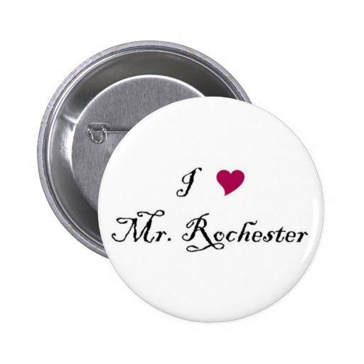 I botón de Sr. Rochester del corazón Pin Redondo De 2 Pulgadas