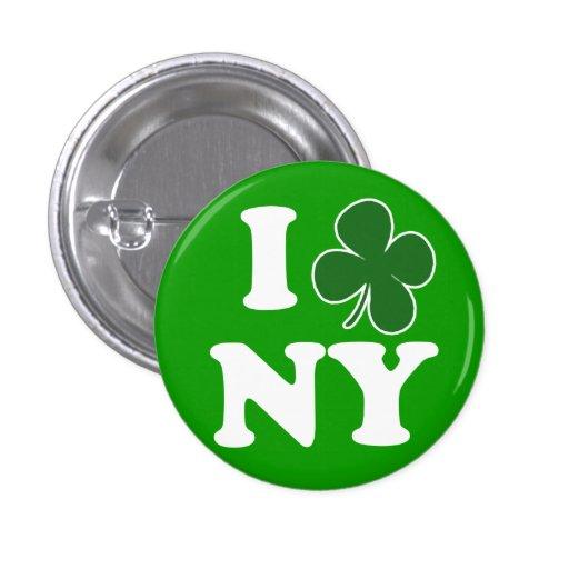 I botón del amor NY del trébol Pin Redondo De 1 Pulgada