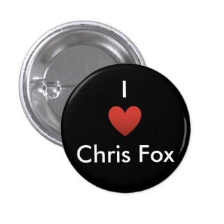 I botón del Fox de Chris del corazón [negro] Pin Redondo De 1 Pulgada