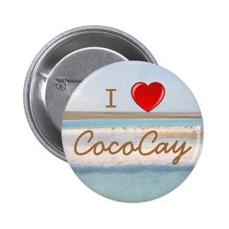 I botones de CocoCay del corazón Pin Redondo De 2 Pulgadas