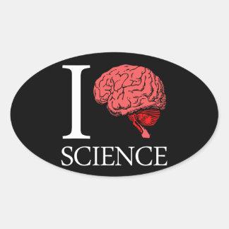 I Brain Science (I Know science) (I Love Science). Oval Sticker