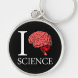 I Brain Science (I Know science) (I Love Science) Silver-Colored Round Keychain