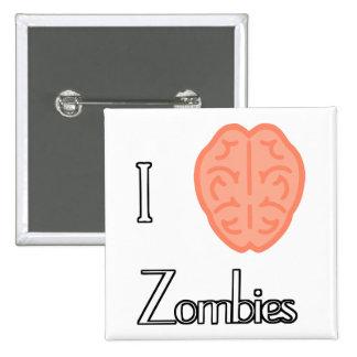 I brain zombies 2 inch square button