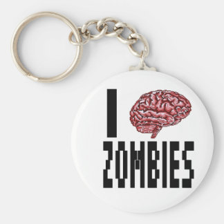 I Brain Zombies Keychain