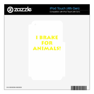 I Brake for Animals iPod Touch 4G Decals