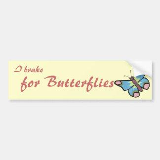 I Brake for Butterflies Bumper Sticker Car Bumper Sticker