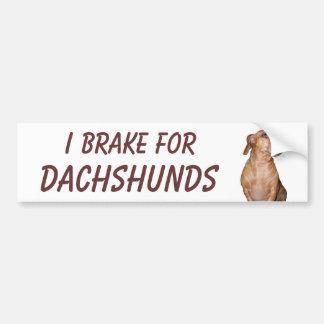 I BRAKE FOR DACHSHUNDS CAR BUMPER STICKER