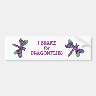 I Brake for Dragonflies Bumper Sticker Car Bumper Sticker