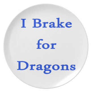 I brake for dragons blue party plates
