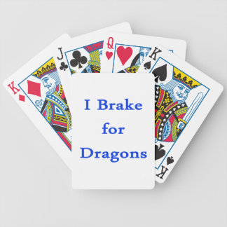 I brake for dragons blue bicycle poker deck