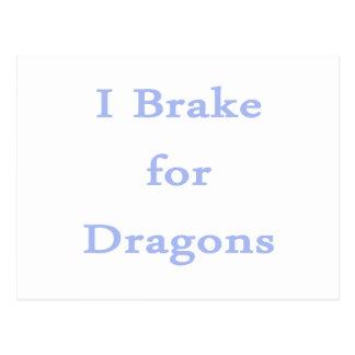 I brake for dragons cornflower postcard