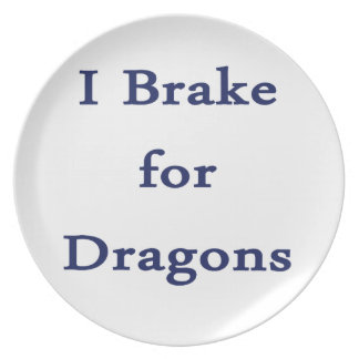 I brake for dragons d blue party plate