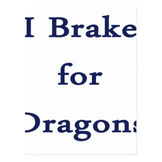 I brake for dragons d blue postcard