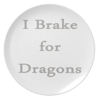 I brake for dragons grey party plate