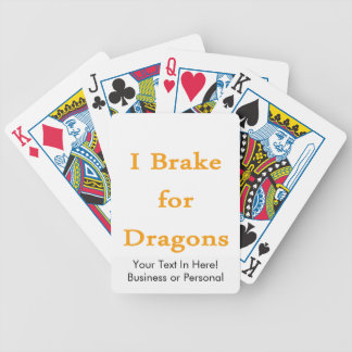 I brake for dragons l orange bicycle playing cards