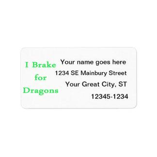 I brake for dragons mint label