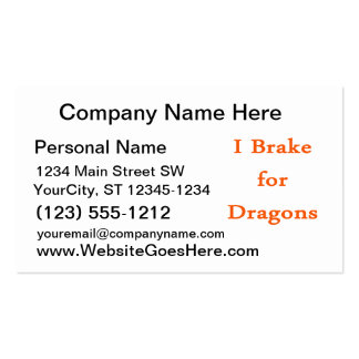 I brake for dragons orange Double-Sided standard business cards (Pack of 100)