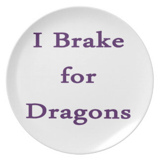 I brake for dragons purple party plates
