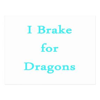 I brake for dragons teal postcard