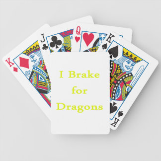 I brake for dragons yellow bicycle card deck