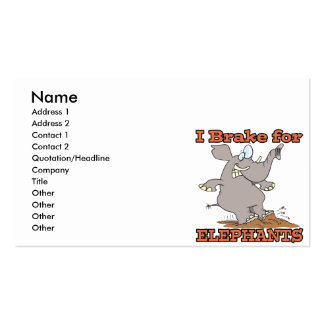 i brake for elephants Double-Sided standard business cards (Pack of 100)