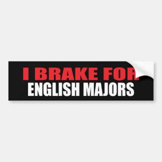 I Brake For English Majors Bumper Sticker