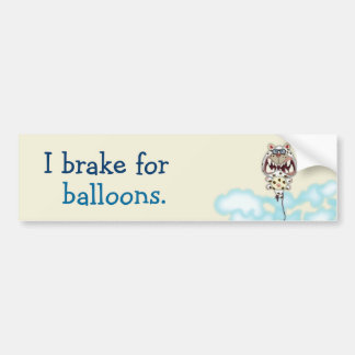I Brake for Funny Scared White Cat Balloon. Bumper Sticker