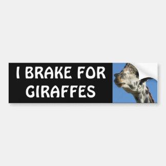 I BRAKE FOR GIRAFFES CAR BUMPER STICKER