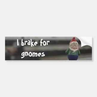 I Brake for Gnomes Car Bumper Sticker
