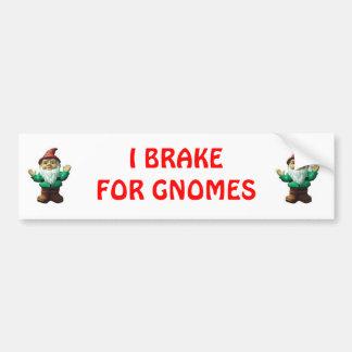 I BRAKE FOR GNOMES (RED) CAR BUMPER STICKER