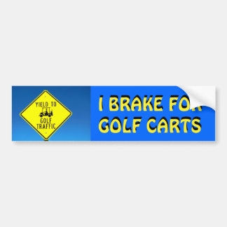 I Brake For Golf Carts Yellow Font Bumper Sticker