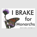 I Brake For Monarchs Rectangle Stickers