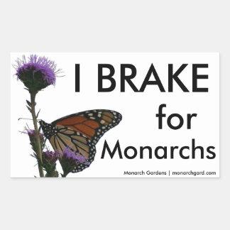 I Brake For Monarchs Rectangular Sticker