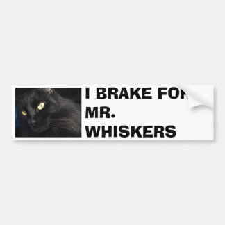 I BRAKE FOR MR. WHISKERS CAR BUMPER STICKER