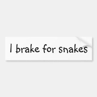 I brake for snakes car bumper sticker