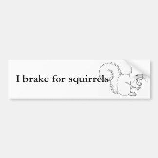 I brake for squirrels car bumper sticker