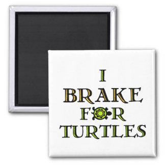 I Brake For Turtles 1 2 Inch Square Magnet