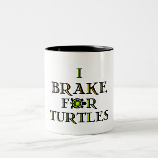 I Brake For Turtles 1 Two-Tone Coffee Mug