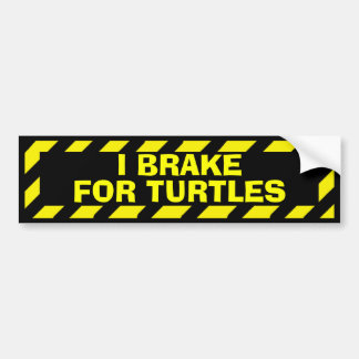 I brake for turtles funny yellow caution sticker car bumper sticker