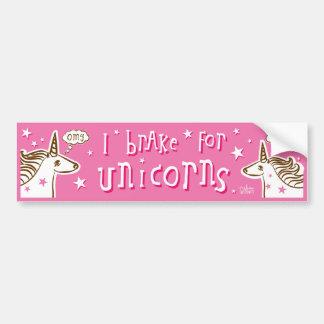 i brake for unicorns car bumper sticker