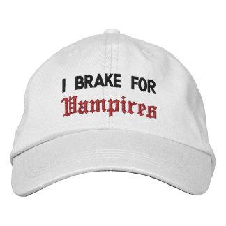 I Brake For Vampires Embroidered Baseball Hat