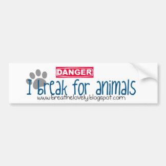 I break for animals car bumper sticker