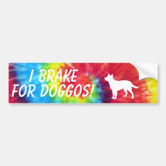 I Break For Doggos Tie Dye Bumper Sticker