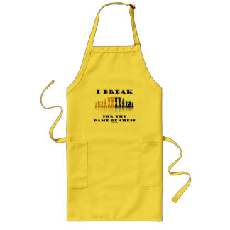 I Break For The Game Of Chess (Reflective Chess) Long Apron