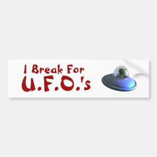 I Break for UFOs Cute Bumper Sticker